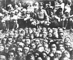 A field of severed heads
